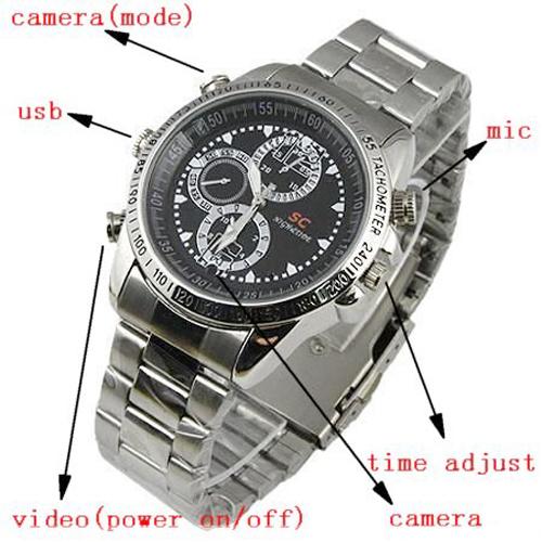 ساعت مچی دوربیندار اسسی (SC) – دارای بند فلزی و دوربین مخفی